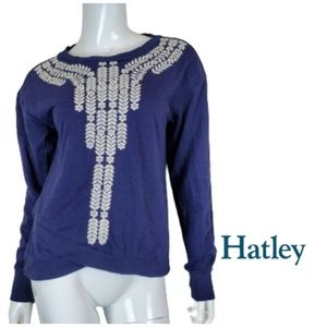 HATLEY Embroidered Speckle Criss Cross Hem Sweater